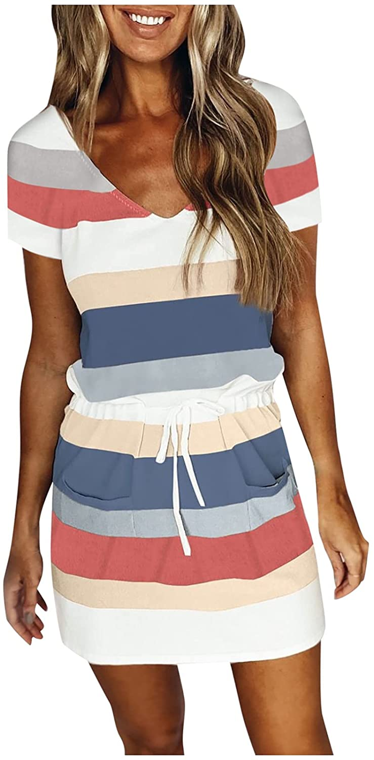 Baltimore Mall ORT Sexy Dress for Women Women's Tunic Summer Recommended Neck Half V