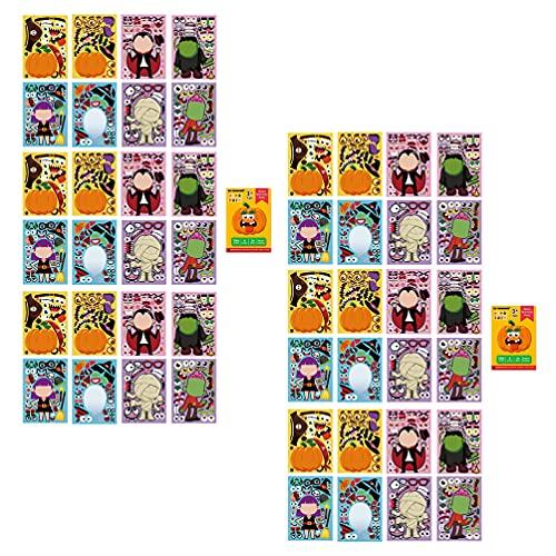 Milisten 2 Juegos de Pegatinas de Halloween Make- A- Face Calabaza Pegatinas de Momia para Ventana Ordenador Portátil Skateboard Álbum de Recortes Y Decoración de Bicicletas Halloween
