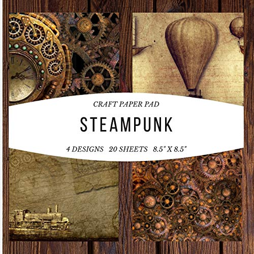 Craft Paper Pad Steampunk 8.5x8.5 Craft Paper, 4 Designs, 20 Sheets: Origami Vintage Flowers Pattern Scrapbooking Cardmaking Craft DIY Die Cuts ... Album for Kids Party Christmas Greeting Cards
