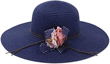 2019 Women Womens Straw Sun Hat Outdoor Beach Hat for Women Rope Hat Flowers Sun Protection Visor Bow Braided Drive The Wind and Rain Elegant Mesh Sunscreen (Color : Navy Blue, Size : 56-58CM)