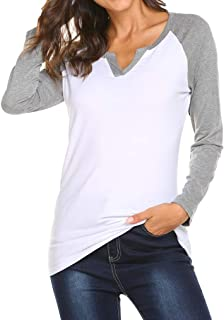 Womens V Neck Raglan Long Sleeve Shirts Casual Blouse Tshirts Top