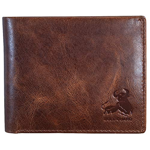 Mens RFID Blocking Bifold Wallet Soft Genuine Leather Brown Western