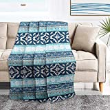 NEWLAKE Quilted Throw Blanket for Bed Couch Sofa, Boho Chic Pattern, 60X78 Inch
