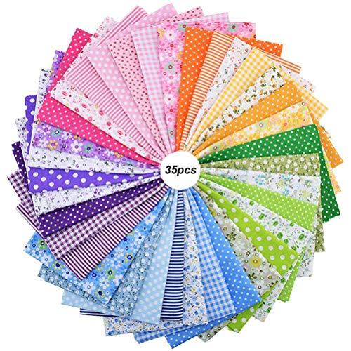 Hereb 35 Piezas de Tela De AlgodóN Telas de ImpresióN a La Moda Para Patchwork Telas Para Coser Material de Costura Hecho a Mano, Color Brillante