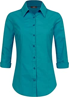 Made By Johnny Womens 3/4 Sleeve Tailored Button Down Shirts