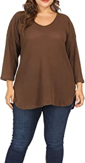 Allegrace Women Plus Size Lightweight Knit Sweaters Shirt Long Sleeve Blouse Pullover Top
