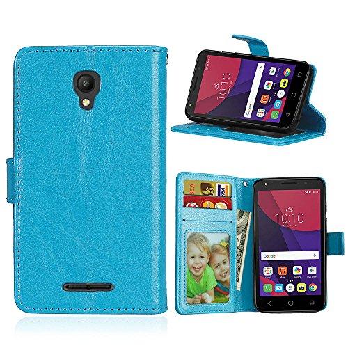 Handy Kasten für Alcatel Pixi First (4.0) OT4024D 4027D,Bookstyle 3 Card Slot PU Leder Hülle Interner Schutz Schutzhülle Handy Taschen-Blau