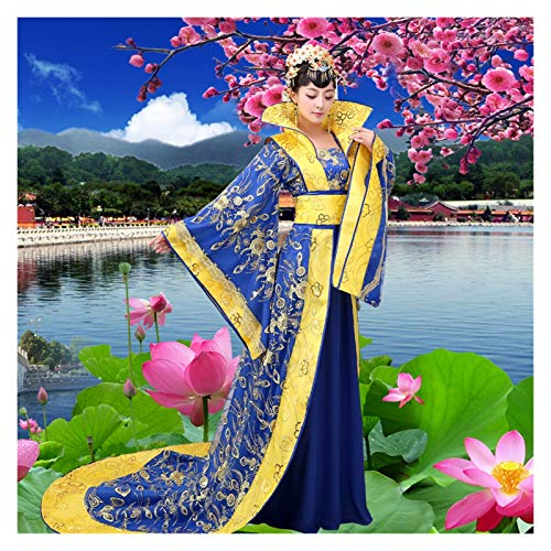 FKJSP Disfraz de reina de tribunal de concubina imperial de rendimiento de Tang Dynasty Han Disfraz de princesa de escenario antiguo (color: azul, tamao: talla nica)