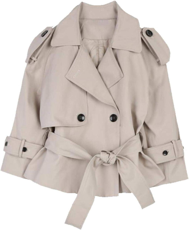 BXSkXOta Women's Lapel Long Sleeve Split Button Loose Short Jacket