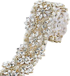 XINFANGXIU 1 yard Rhinestone Applique con Cristales y Perlas
