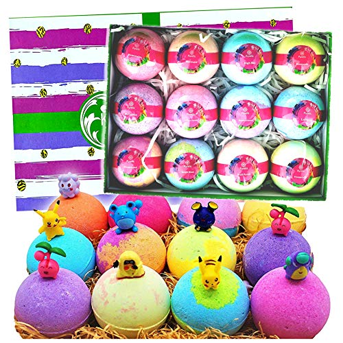 Natural Bath Bomb Gift Set. Bath Bombs for Kids with Toys Inside! Great Gift Set for Boys & Girls! Safe Ingredients That Don't Stain The Tub, 12 Individually Wrapped Huge 4.2oz Each!