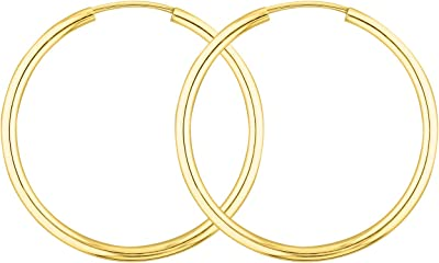 Orecchini a Cerchio da Donna di 30 mm realizzati in oro giallo 333/585/750, spessore 2 mm, marchio di garanzia made in Germany