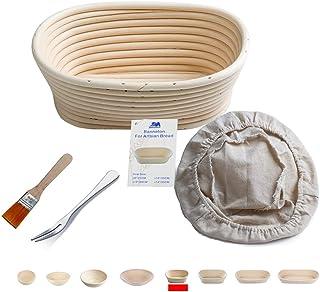Banneton Panier à l'21 cm ovale Banneton Brotform pâte pour pain et brosse sans [500g de pâte] l'Imperméabilité se lever e...