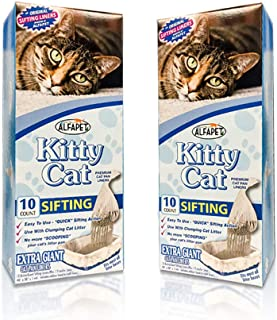 Alfapet Kitty Cat Pan Disposable, Sifting Liners- 10-Pack + 1 Transfer Liner-For Large, X-Large, Giant, Extra-Giant Size Litter Boxes-Included Rubber Band for Firm, Easy Fit - Pack of 2