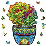 Wooden Jigsaw Puzzles, Uniquely Shaped Animal-Shaped Puzzle, The Best Gift for Adults and Children,Succulent Plants Jigsaw Family Game,Wooden Puzzles for Adults 8.5x11.8 inches -M