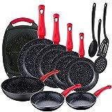 Pack 11 piezas: Set de 6 sartenes Energy Ø18/20/22/24/26/28 cm + 1 Sartén Wok Ø26 cm + 1 Plancha grill 37x25 cm, aluminio forjado, negro + Set 3 utensilios de cocina en nylon
