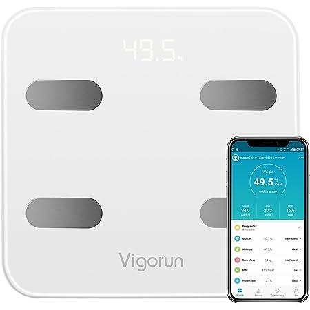 Vigorun Bilancia Pesa Persona Digitale Bilancia Pesapersone Impedenziometrica 17 Dati di Misurazione del Corpo Peso/Muscolo/Massa Grassa/BMI/BMR/Tasso di Proteine/Massa Ossea