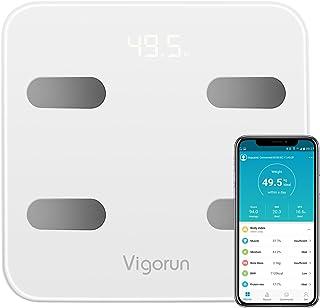 Báscula Baño Vigorun Báscula Grasa Corporal, Básculas Digitales con App y 17 Datos del Cuerpo,Balanza Baño para Peso,Músculo,Grasa Corporal,IMC, BMR,Tasa de proteína, Masa Ósea, y así./max 180kg