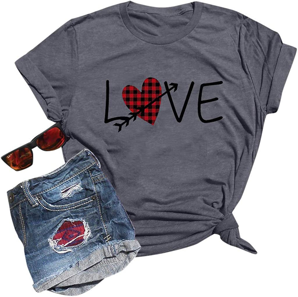 T Shirts for Women Plus Size,Valentine's Day Love Graphic T-Shirt Baseball Shirt Short Sleeve O-Neck Casual Tee