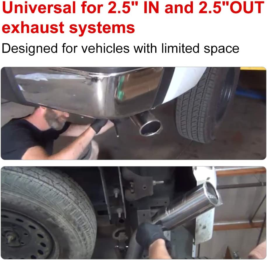 2.5 Center OUT Compatible with Super 10 Series 19 Overall Length Universal Steel WATERWICH Muffler 2.5 Center IN