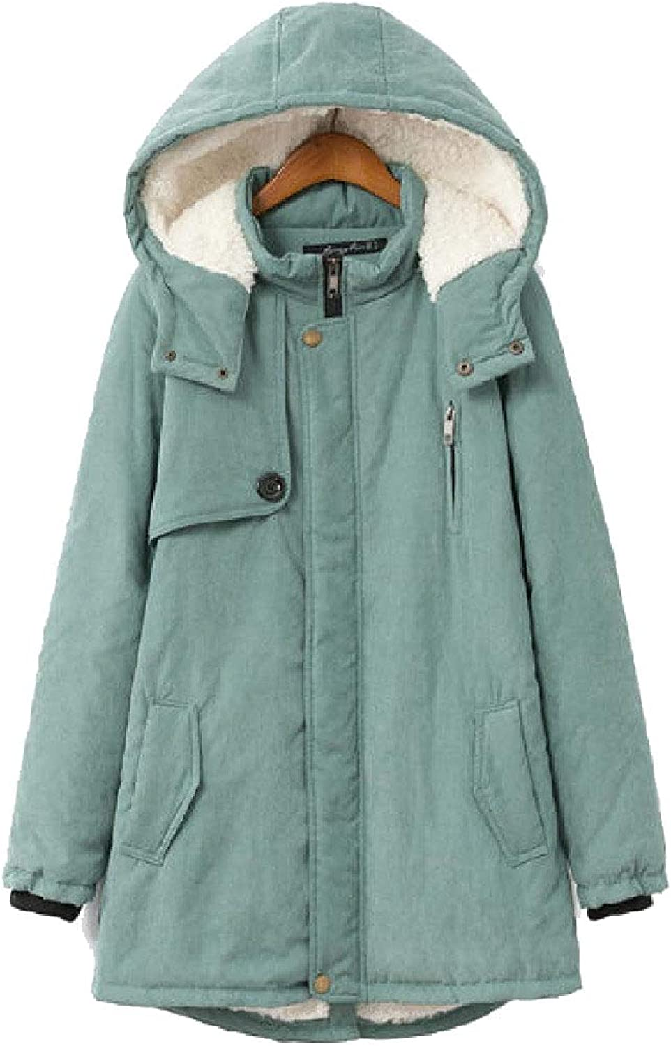 Abetteric Womens Plus Size with Hood Lambswool Thick Parka Anorak