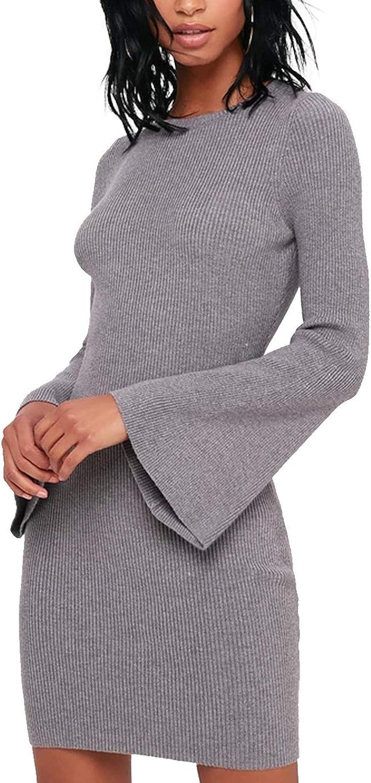 驚きの価格が実現 Blooming Jelly Womens Bodycon Sweater Sleev テレビで話題 Neck Bell Crew Dress