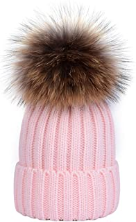 Women Winter Knitted Beanie Hats Real Raccoon Fur Pom Pom Hats Caps Soft (Pink)