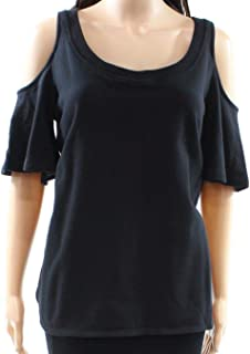 LAUREN RALPH LAUREN Womens Cold Shoulder Crew Neck Pullover Top Black M