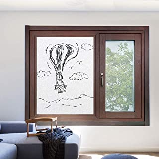 Customized Privacy Window Film Decorative Window Film Static Cling Glass Film 3D Glass Film for Home Kitchen Bathroom Office Meeting Room Living Room,23.6 W x 35.4 L inches,Modern,Hot Air Balloon Sket