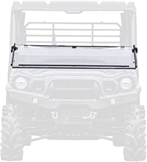 SuperATV Heavy Duty Scratch Resistant Folding/Flip/Tilt Down Windshield for Kawasaki Mule Pro FXT/FX/DX/DXT (2015+) - See Fitment - Installs in 5 Minutes!