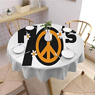 Garden Round Tablecloth 70s Party,Peace Symbol of Seventies with Daisies Rock n Roll Psychedelic Print,Black Marigold White Holiday Dinner Picnic Kitchen D46
