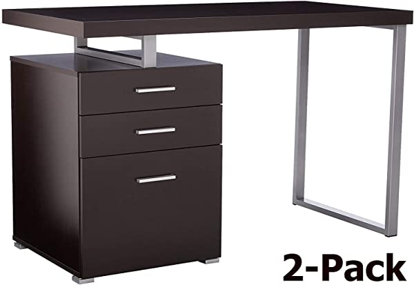 Monarch Specialties Reclaimed Look Left Right Facing Desk Cappuccino 2 Pack