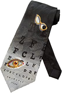 Steven Harris Mens Optometrist Eye Chart Necktie - Black - One Size Neck Tie