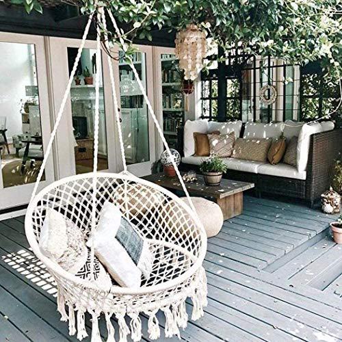 XUDREZ Hamaca con kit de accesorios para colgar, hecha a mano, cuerda de algodón de punto, para interiores y exteriores, hogar, patio, jardín, lectura, ocio (góndola y accesorios)