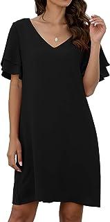 QIXING Women's Summer Casual Loose Mini Dress V-Neck Bell Short Sleeve Shift Dress