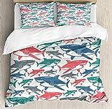 Juego de funda nórdica Shark 3 PCS, mezcla de coloridos patrones de la familia del tiburón toro Maestros depredadores de supervivencia Naturaleza peligrosa, juego de cama Colcha para niños / adolescen