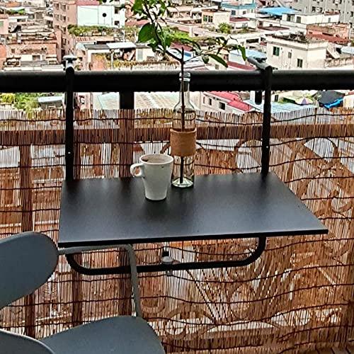 Balcón Barandilla Colgante Mesa, Mesa Colgante Plegable para Balcón, al Aire Libre Balcón Colgante Mesa Plegable, Resistente a la Intemperie, 60x40cm Negro