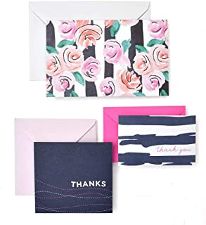 George Stanley Roses & Painterly Stripes Note And Thank You Card Set