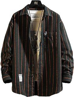 [メリュエル] 2カラー M~2XL 春秋 ストライプ シャツジャケット カジュアル シャツ ゆったり お洒落 羽織 メンズ