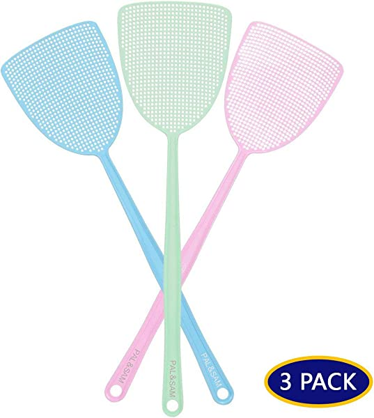 PAL SAM Fly Swatter Strong Flexible Manual Swat Set Pest Control Assorted Colors 3 Pack 3 Colors