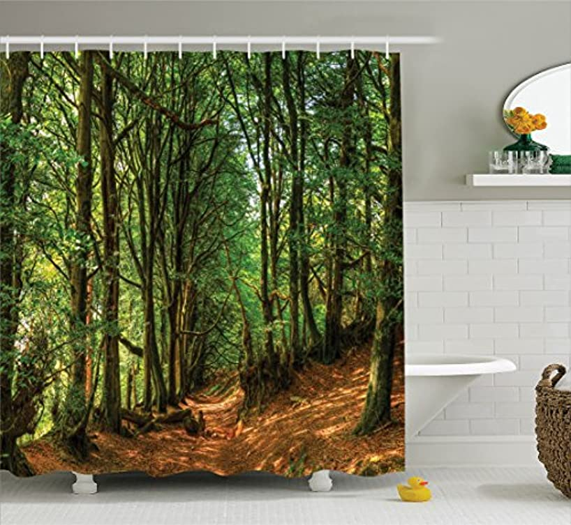 Ambesonne Woodland Decor Shower Curtain Set, Woodland Scene with Trees and Pathway Foliage Trunk Greenery Outdoor Scenic Picture, Bathroom Accessories, 75 Inches Long, Green Brown