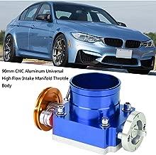 Ejoyous 70mm Universal Throttle Body Assembly CNC Aluminum High Flow Intake Manifold Throttle Body(Blue)