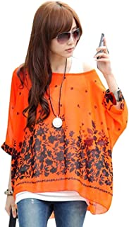 4754abc13a0 OUKIN Women Bohemian Floral Batwing Sleeve Plus Sheer Chiffon Oversize  Loose Off Shoulder Blouse Tunic Tops