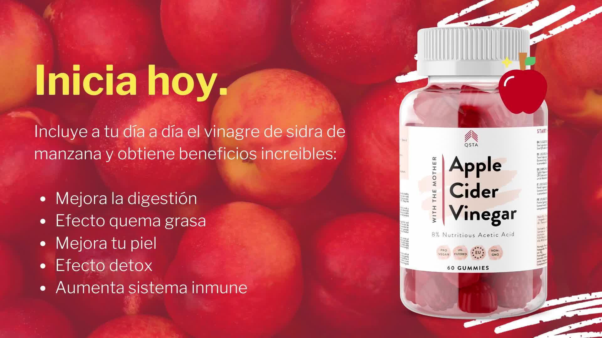Vinagre de Sidra de Manzana (60 GUMMIES) + FIBRA PREBIOTICA + CERO CARBS NETOS, SIN AZÚCARES AÑADIDOS, SIN EDULCORANTES, VEGANO (Pectina) + B6 + B12 + ...