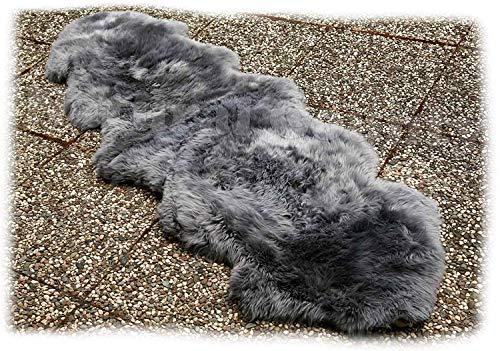 Zaloop Merino Doppel Lammfell Teppich extra groß versch. Farben und Größen echt Läufer (grau, ca.200 x 60-70 cm)
