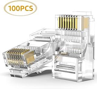 AMPCOM CAT6 RJ45 Modular Plug,50μ Gold-Plated Modular Plug Connector,8P8C Crimp End for Ethernet Cable,Bulk Ethernet Cable...