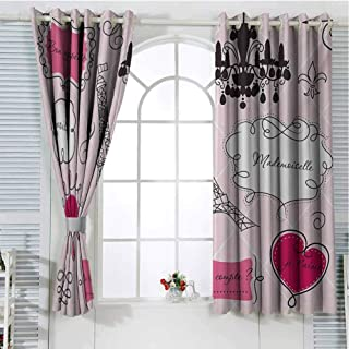 Teen Room Room Darkening Curtains for Bedroom Doodle Frames in French Style Rococo Baroque Lantern Mademoiselle Print Pattern Curtains Long W72 x L96 Inch Hot Pink and Black