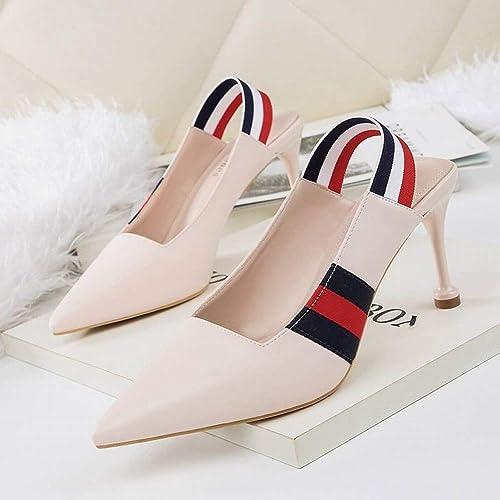 Wisdom Moda Señaló Boca Baja Tacones Altos Trabajo Lugar de Trabajo de Las mujeres zapatos de Solteros zapatos de Tacón de Aguja de Color Femenino, Desnudo, 34