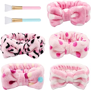 5pcs Bow Makeup Headband, Adjustable Face Wash Headbands Cute Spa Yoga Headband Elastic Soft Cosmetic Hairbands for Women Girls, with Silicone Face Mask Brushes