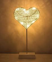 Lewondr Table Lamp, Battery Powered Heart Shape Bedside Light Desk Lamp LED Christmas Decorative Lamp Winding Iron Frame Plastic Base Warm White Bright Light Home Bedroom Romantic Decoration - White